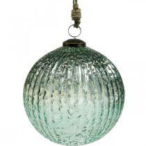 Sfera di vetro da appendere blu decorazione natalizia vintage in vetro Ø15cm