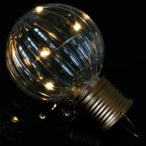 Lampada solare a LED dall'aspetto retrò bianco caldo trasparente Ø8cm