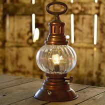 Lanterna tempesta a LED, lampada in metallo, lampada decorativa, aspetto vintage Ø12,5cm H30cm
