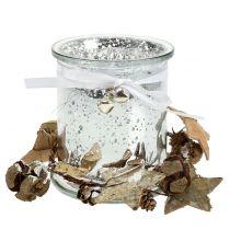Porta tealight in vetro con corona 10 cm