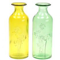 Vaso di vetro bottiglia giallo, verde H19cm 2 pezzi