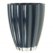 """Vaso in vetro """"Bloom"""" Blu scuro Ø14cm H17cm"""