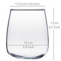 Vaso di vetro, vaso di fiori, vaso decorativo Ø15cm H17cm