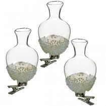 Vaso in vetro con clip glitter e perle Ø4,9cm H9,5cm trasparente 3 pezzi