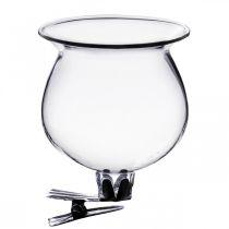 Campana in vetro con clip trasparente Ø5,5cm H6cm 4 pezzi