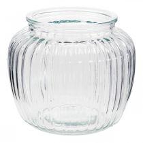 Vaso in vetro rigato Ø14cm H13cm