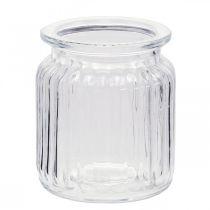 Vaso in vetro rigato Ø7,5cm H9cm