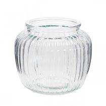 Vaso in vetro rigato Ø11cm H10cm