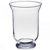Vaso in vetro trasparente Ø13,5cm H19,5cm vaso da fiori con decorazione in vetro