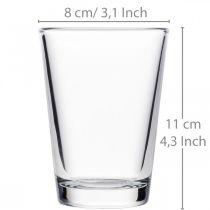 Vaso di vetro trasparente Ø8cm H11cm per la decorazione della tavola