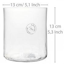 Vaso cilindrico in vetro Crackle chiaro, satinato Ø13cm H13,5cm