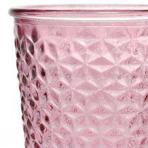 Portacandele, coppa in vetro, lanterna, decoro in vetro Ø10cm H18,5cm