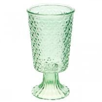 Lanterna in vetro, coppa in vetro con base, vaso in vetro Ø10cm H18,5cm