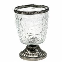 Luce a vento in vetro sulla base antica con bordo in metallo Ø9cm H13,5cm
