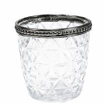 Vento leggero in vetro antico con bordo in metallo Ø7,5cm H7,5cm