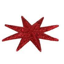 Stella glitterata rossa Ø10cm 12 pezzi