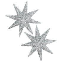 Stella glitterata argento Ø10cm 12 pezzi