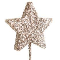 Stella glitterata su filo 4cm L23cm oro chiaro
