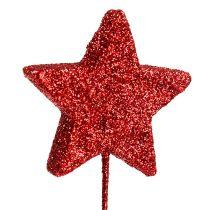 Stella glitterata su filo 4cm rosso L22cm 60pz