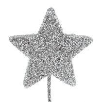 Stella glitterata argento 4cm su filo 60pz