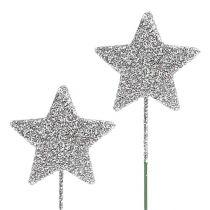 Stella glitterata argento 5 cm sul filo L22 cm 48 pezzi