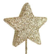 Stelle glitterate sul filo 5 cm Oro L23 cm 48 pezzi
