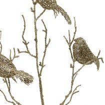 Ramo scintillante con uccelli in oro 75 cm
