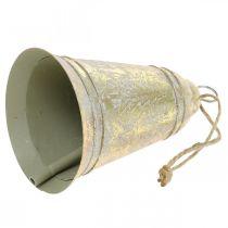 Campana natalizia da appendere, Avvento, campana con decoro in abete aspetto anticato dorato Ø10,5cm H17cm