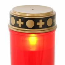 Tomba LED rosso chiaro, timer bianco caldo a batteria Ø6,8 H12,2 cm