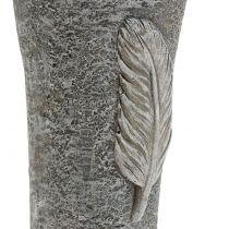 Vaso grave con piuma grigia 25,5 cm 2 pezzi