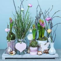 Decorazione da appendere cuore fiore farfalla bianco, rosa decorazione primavera legno 6pz