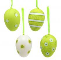 Appendiabiti in plastica uova verdi 6 cm 12 pezzi