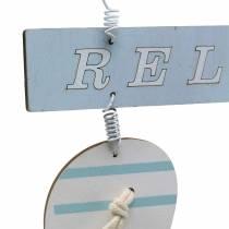 Infradito da appendere Legno Azzurro 23×14 cm 6 pezzi