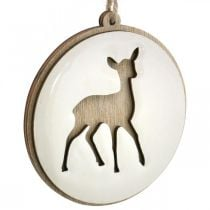 Ciondolo con cervo, medaglione decorativo, decorazione in legno, Avvento Ø9,5cm 6 pezzi