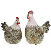 Figure decorative gallina e gallo grigio, bianco, rosso 10,2 cm x 7 cm H12,7 cm 2 pezzi