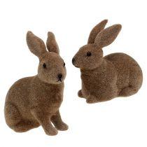 Coniglietto floccato marrone 11 cm, 13,5 cm 6 pezzi