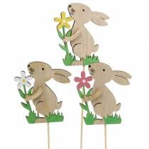 Coniglio di fiori in legno 9 cm 12 pezzi