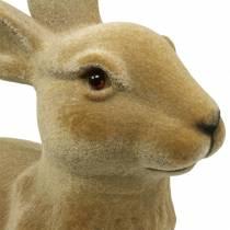 Decorazione pasquale coniglietto floccato marrone H50cm