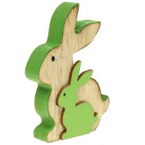 Coniglio decorativo in legno con bambino 9 cm colori assortiti 6 pezzi