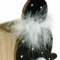 Bunny fioriera box boa di piume nero, coniglietto pasquale in legno punteggiato bianco