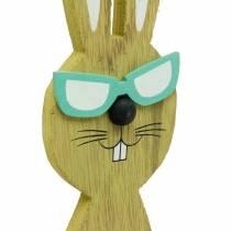 Coniglietti pasquali con cesto verde, primavera, cesto decorativo per piante, coniglietto in legno decorazione pasquale 2 pezzi