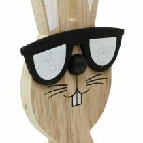 Coniglietti in legno con occhiali da sole e cesto natura, decorazione pasquale, figura di coniglio con cesto di piante, decorazione primaverile 2 pezzi