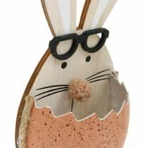 Coniglio in legno in uovo, decorazione primaverile, conigli con occhiali, coniglietti pasquali 3pz