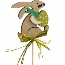 Coniglietto con uovo di Pasqua su un bastone, tappo per fiori coniglietto pasquale, decorazione in legno di Pasqua, tappo decorativo, decorazione floreale 12 pezzi