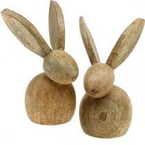 Decorazione pasquale coniglietto decorazione in legno seduta coniglietto pasquale natura 12cm 4 pezzi