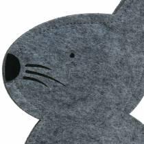 Coniglio seduto in feltro grigio 27 cm x 6 cm H40,5 cm