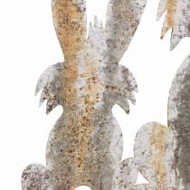 Decorazione pasquale coniglio con bambino per attaccare ruggine betulla aspetto metallo 25 × 32 cm