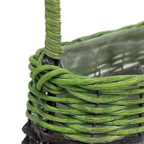 Manico cestino ovale 23 cm x 12 cm H16 cm verde-marrone