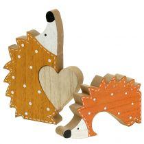 Coppia riccio decorazione autunnale con cuore 15 cm - 18 cm