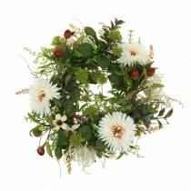 Ghirlanda autunnale crisantemo bianco Ø30cm